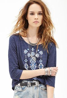Heathered Tribal-Inspired Top | FOREVER21 - 2000084054