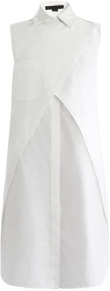 Alexander Wang Wrap Shirt Dress - This white cotton sleeveless shirt dress has a white textured leather point-collar and a wrap-front detail. The loose-fitting dress has a buttoned centre-front fastening, a chest patch-pocket and a cut-out back detail.: