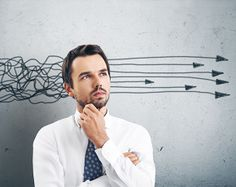 businessman untangling the decision-making process