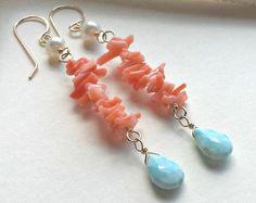 Larimar Dangle Earrings Coral Blue Earrings by BellaAnelaJewelry Beaded Tassel Earrings, Beaded Earrings, Earrings Handmade, Handmade Jewelry, Blue Earrings, Shell Schmuck, Diy Schmuck, Schmuck Design, Wire Wrapped Jewelry