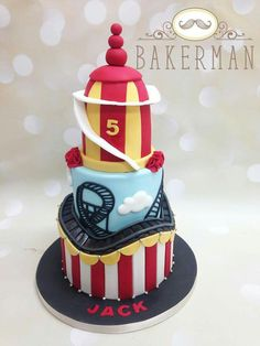 Roller coaster cake 8th Birthday Cake, Boy Birthday Parties, Cupcakes, Cupcake Cakes, Roller Coaster Cake, Calla Lillies Wedding, Circus Cakes, Cake Games, Fun Fair