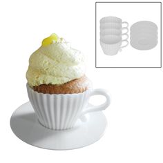 Ready for a whole new concept for tea time? Our Cupcake Tea set is a cute way to have tea time with the kids. Each set includes 4 food grade silicone teacup shaped pans to make 4 cupcakes. After baked