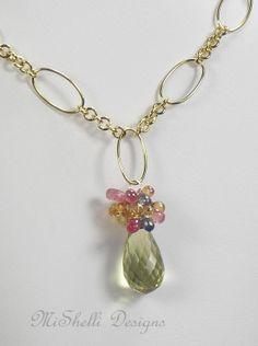 Quartz Sapphire Gemstone Gold Filled Necklace