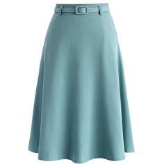 Chicwish Savvy Basic Belted A-line Skirt in Steel Blue ($42) ❤ liked on Polyvore featuring skirts, blue, pastel pencil skirt, pastel skirt, blue skirt, blue pencil skirt and knee length a line skirt