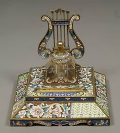 "3 pc Imperial Russian gilt silver enameled desk set, c/o blotter, inkstand, and pen, blotter top and base of inkstand bearing stamps ""88 / Moscow City mark / MC in oval"""