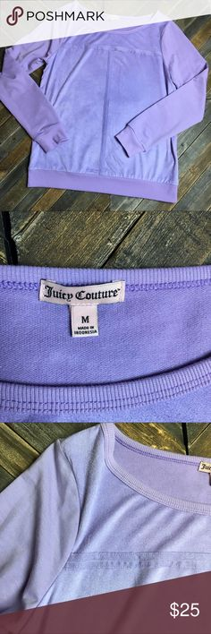 Lilac long sleeve juicy couture sweatshirt This top is very soft and in like new condition, the color is vibrant and fun! The front has a cute cross like pattern! Worn only one time, it's very comfortable! I ❤️ offers! Juicy Couture Tops