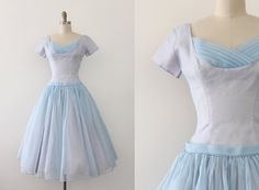 vintage 1950s dress // 50s pale blue prom dress by TrunkofDresses