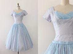 vintage 1950s dress // 50s pale blue prom dress by TrunkofDresses