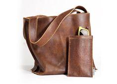 Brown leather bag - Soft leather tote bag - Women bag - Leather Shoulder bag - Shiri bag / Distressed Brown