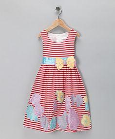 Look at this #zulilyfind! Red Stripe Flower Dress - Toddler & Girls by Bonny Billy #zulilyfinds