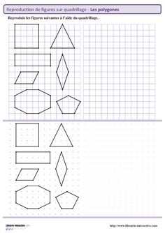 Librairie-Interactive - Polygons on gridlines Act Math, Cycle 3, French Kids, Learn French, Homeschool, Teaching, Education, Geometric Drawing, School