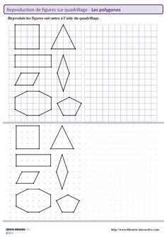 Reproduction des principaux polygones sur quadrillage et repère pointé.