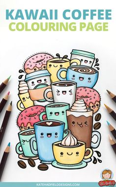 Kawaii coffee colouring page free download! Super cute adult coloring page from Kate Hadfield!