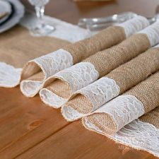 275 x 30cm Vintage Burlap Lace Hessian Table Runner Natural Jute Country Party