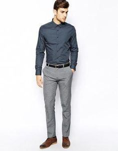 730777b752 ASOS Smart Shirt In Long Sleeve With Button Down Collar In Cotton   MensFastionSmart  MensFashionWinter