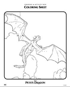 Disney's Pete's Dragon Coloring Sheets Pete flying on Elliots back
