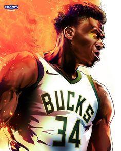 Giannis antetokounmpo Wow Nba Basketball, Basketball Design, Nba Sports, Basketball Leagues, Sports Art, Basketball Anime, Nba Pictures, Basketball Pictures, Nba Best Dunks