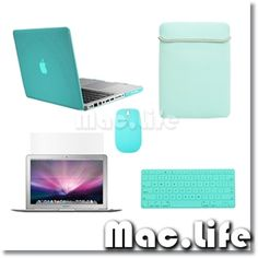 """5in1 Crystal TIFANY BLUE Case for Macbook PRO 13""""+Keyboard Cover+LCD+Bag +Mouse 