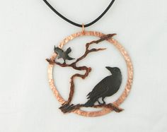 copper crow pendant copper crow necklace by ImagesbyKentOlinger