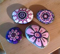 Flowers painted on stone!