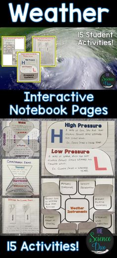 Bring engaging and interactive activities into your classroom with these science notebook pages. This resource contains 15 different interactive notebook activities covering weather instruments and symbols, weather maps, forms of precipitation, fronts, ca