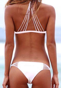 Caged Strappy White Bikini Set
