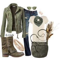 """Army Green Fall Outfit"" by lindakol on Polyvore"