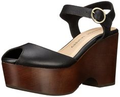 Chinese Laundry Womens Cara Vegetable Le Wedge Sandal Black 85 M US -- Click image for more details. Black Wedge Sandals, Platform Wedge Sandals, Flip Flop Sandals, Flip Flops, Chinese Laundry, Vegetable Tanned Leather, Clogs, Peep Toe, Footwear