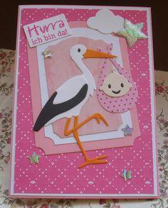 Glückwunschkarten - Glückwunschkarte zur Geburt - ein Designerstück von Wollzottel bei DaWanda