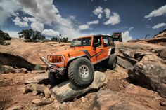 GenRight armor protects this Jeep from the nasty rocks on a Moab trail. #jeep #jeeping #offroad #offroading #moab #wheeling