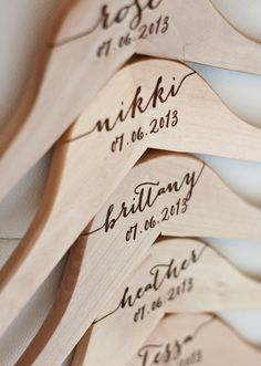 . Personalized Bridesmaid Hangers ($80+): If you aren't going for the mismatched bridesmaids trend, hang their dresses up on personalized hangers to avoid any mix-ups.