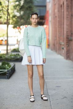 Mona Matsuoka has been out and about out #NYFW wearing her Monki skirt. Fashion week chic!