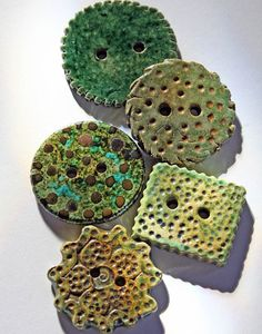 Handmade RAKU Ceramic Buttons SET OF 5 In Shades of Green