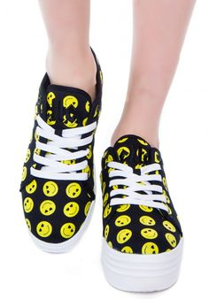 Cute to the Core Blyke Smiley Platform Sneaker Sock Shoes, Cute Shoes, Happy Smiley Face, Girly Girls, Boy London, Smileys, Band Merch, Shoe Closet, Platform Sneakers