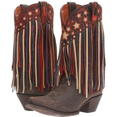 Dan Post Liberty Fringe (Brown) Cowboy Boots ($304) ❤ liked on Polyvore featuring shoes, boots, mid-calf boots, slip on boots, brown mid calf boots, american flag cowboy boots, fringe boots and fringe western boots