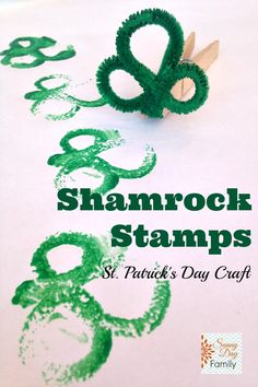 Shamrock Stamps - a fun and easy St. Patrick's Day painting craft for kids.