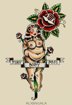 Zu den beliebtesten Tags für dieses Bild zählen: body positive, fat, old school tattoo, alxbngala und Pin Up