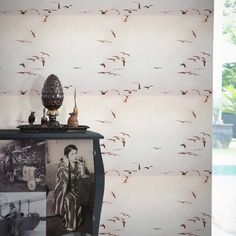 Portuguese Seagulls II Wallpaper by IsaWorks Shabby Chic Wallpaper, Bird Wallpaper, Animal Wallpaper, Sea Birds, Elle Decor, Designer Wallpaper, Portuguese, Contemporary Artists, Animals Beautiful