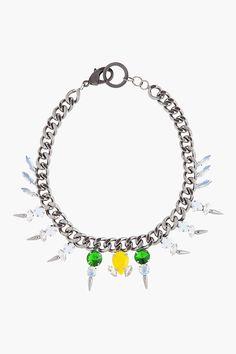 FALLON Gunmetal Swarvoski Crystal Microspike Necklace