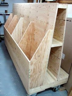 Sheet goods and wood storage cart cool garage ideas for Rack pour garage