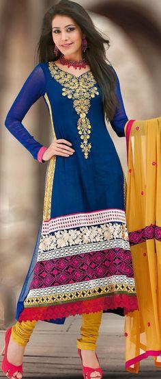 Royal #Blue Faux #Georgette #Churidar #Kameez @ $107.69 | Shop @ http://www.utsavfashion.com/store/sarees-large.aspx?icode=kun36