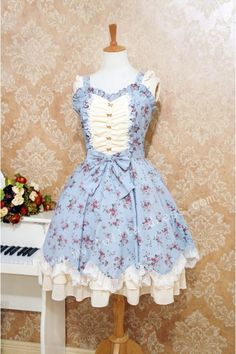 Elegant Sweet Lolita Jumper Dress with Flower Prints $63.99-Cotton Lolita Dresses - My Lolita Dress