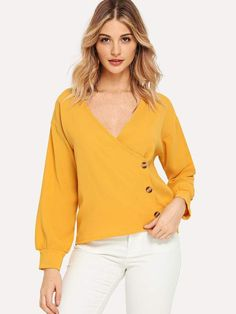 Women Casual Plain Top Regular Fit V Neck Long Sleeve Pullovers Yellow Regular Length Surplice Neck Button Side Blouse Plain Tops, Spring Shirts, Yellow Fashion, Blouse Online, Cool Outfits, Yellow Outfits, Blouse Designs, Shirt Blouses, Fashion News