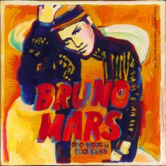 Bruno Mars Pop Art Album Cover Daily Painting by Howie Green. See over 350 album cover paintings at www.hgd.com