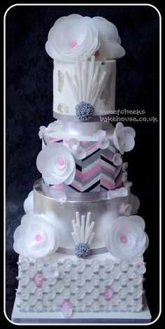 Art deco inspired gold award winning  wedding cake  ~ all edible