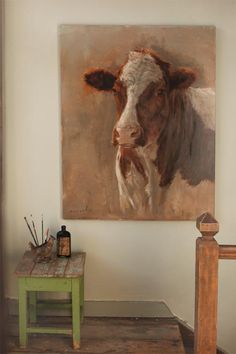 Painting - Nanouk Weijnen Source by Farm Paintings, Animal Paintings, Animal Drawings, Cool Drawings, Bird Painting Acrylic, Cow Painting, Painting & Drawing, Painting Clouds, Cow Art