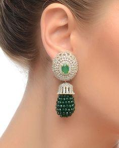 Diamante Earrings with Bottle Green Stones- Buy Earrings,Bansri Joaillerie Online | Exclusively.in