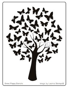 Sweet Poppy Stencil: Butterfly Tree
