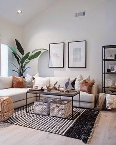 59 Best Solution Small Apartment Living Room Decor Ideas, modern living room decor with modern coffee table decor and modern sectional sofa with bookshelves and modern art in black and white living room design Home Living Room, Interior Design Living Room, Living Room Designs, Modern Living Room Decor, Modern Apartment Decor, Bohemian Apartment, Plants In Living Room, Apartment Ideas, Scandinavian Interior Living Room