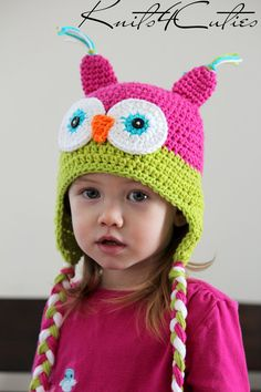 {lydia} Baby girl owl hat by knits4cuties on Etsy